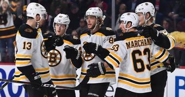 Charlie Coyle Torey Krug Brad Marchand David Pastrnak Danton Heinen Boston Bruins