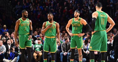 Jaylen Brown, Kemba Walker, Jayson Tatum and Enes Kanter