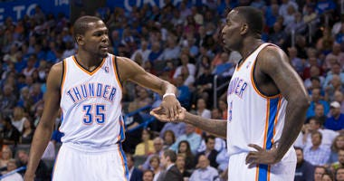 Kevin Durant and Kendrick Perkins