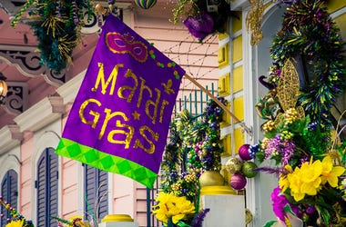 Mardi Gras decorations on house