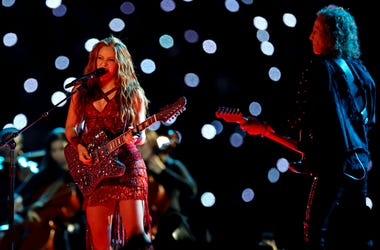 Recording artist Shakira performs during the halftime show in Super Bowl LIV at Hard Rock Stadium.