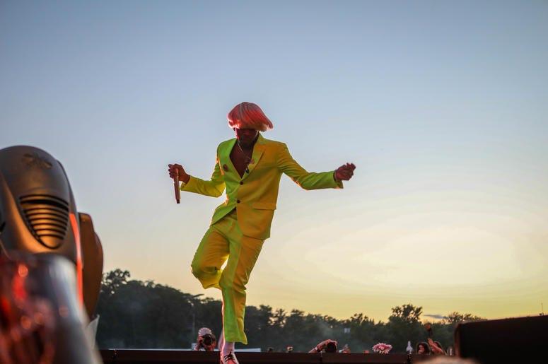 Tyler, the Creator performs on the Firefly Music Festival Main Stage at The Woodlands in Dover on Friday, June 21, 2019.