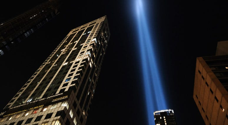 """The annual """"Tribute in Light"""" memorial in remembrance of victims who died in the September 11, 2001, terrorist attacks rises above the skyline on September 10, 2019, in New York City."""