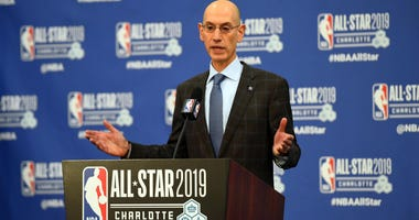 Feb 16, 2019; Charlotte, NC, USA; NBA commissioner Adam Silver speaks during a press conference at Spectrum Center. Mandatory Credit: Bob Donnan-USA TODAY Sports
