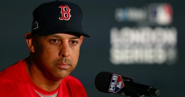 Red Sox manager Alex Cora speaks with members of the media during a press conference ahead of the MLB London Series games between Boston Red Sox and Yankees at London Stadium on June 28, 2019 in London, England.