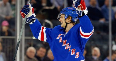 Anton Stralman of the Rangers celebrates his second-period goal against the Colorado Avalanche at Madison Square Garden on February 4, 2014 in New York City.