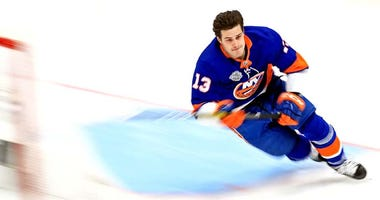 New York Islanders forward Mathew Barzal (13) during the fastest skater competition in the 2020 NHL All Star Game Skills Competition at Enterprise Center.