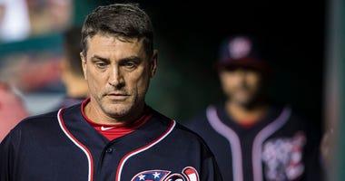Nationals first-base coach Tim Bogar