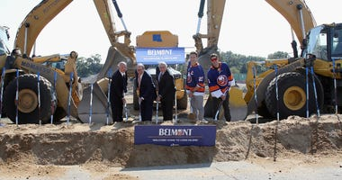 Islanders General Manager Lou Lamoriello, co-owner Jon Ledecky, coach Barry Trotz and captain Anders Lee and goaltender Thomas Greiss take part in the groundbreaking ceremony for the new hockey arena at Belmont Park on September 23, 2019.