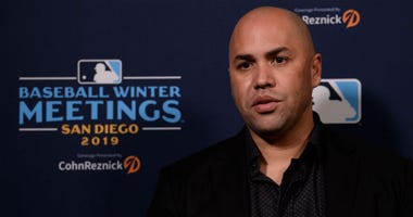 New York Mets manager Carlos Beltran speaks to the media during the MLB Winter Meetings at Manchester Grand Hyatt