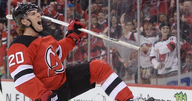 New Jersey Devils center Blake Coleman (20) celebrates after scoring a goal against the Winnipeg Jets during the second period at Prudential Center