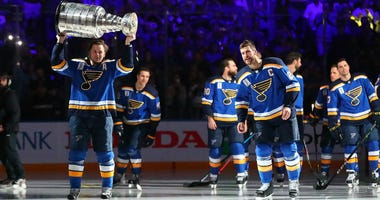Vladimir Tarasenko of the St. Louis Blues skates with the Stanley Cup during a pre-game ceremony prior to playing against the Washington Capitals at Enterprise Center on October 2, 2019 in St Louis, Missouri.