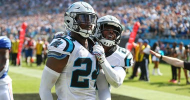 Carolina Panthers cornerback James Bradberry (24) reacts to a pass break up in the third quarter against the New York Giants at Bank of America Stadium