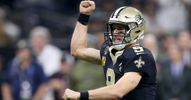 Nov 4, 2018; New Orleans, LA, USA; New Orleans Saints quarterback Drew Brees (9) gestures after a touchdown in the second quarter against the Los Angeles Rams at the Mercedes-Benz Superdome. Mandatory Credit: Chuck Cook-USA TODAY Sports