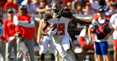 Breshad Perriman of the Tampa Bay Buccaneers runs after a catch during a game against the Arizona Cardinals at Raymond James Stadium on November 10, 2019 in Tampa, Florida.