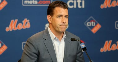 Mets general manager Brodie Van Wagenen answers questions during a press conference before the game between the New York Mets and the Washington Nationals at Citi Field on May 20, 2019 in New York City.