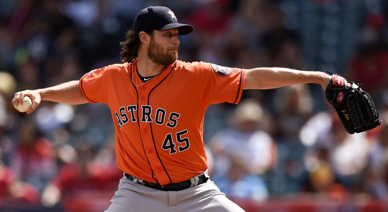 The Astros' Gerrit Cole pitches against the Los Angeles Angels on Sept. 29, 2019, at Angel Stadium of Anaheim.
