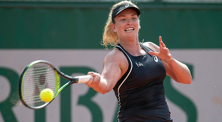 May 31, 2018, Paris, France: Coco Vandeweghe (USA) in action during her match against Lesia Tsurenko (UKR) on day five of the 2018 French Open at Roland Garros. Mandatory Credit: Susan Mullane-USA TODAY Sports
