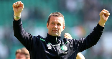 Celtic manager Ronny Deila looks on during the Ladbroke Scottish Premiership match between Celtic and Aberdeen on May 8, 2016, in Glasgow.