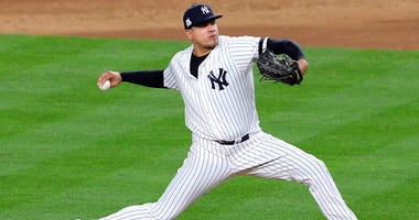 Yankees relief pitcher Dellin Betances pitches against the Houston Astros during Game 3 of the American League Championship Series on Oct. 17, 2017, at Yankee Stadium.