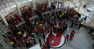 Fans enter the gates prior to the game between the New Jersey Devils and the Winnipeg Jets on Oct. 4, 2019, at Prudential Center.