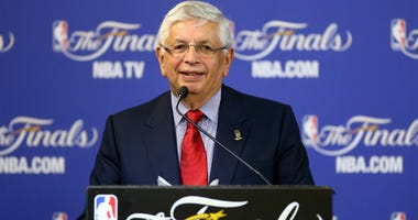 NBA Commissioner David Stern addresses the media before Game Two of the 2013 NBA Finals in Miami, Florida.