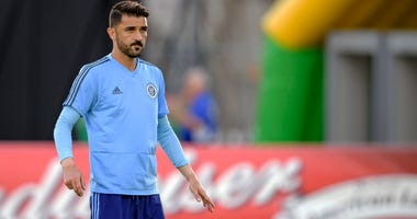 Feb 24, 2018; St. Petersburg, FL, USA; New York City FC forward David Villa (7) warms up on the field prior to the matchup with Montreal Impact at Al Lang Stadium. Mandatory Credit: Douglas DeFelice-USA TODAY Sports