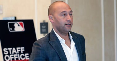 Derek Jeter CEO and part owner of the Miami Marlins leaves a meeting during MLB baseball owners meetings, Thursday, Feb. 6, 2020, in Orlando, Fla