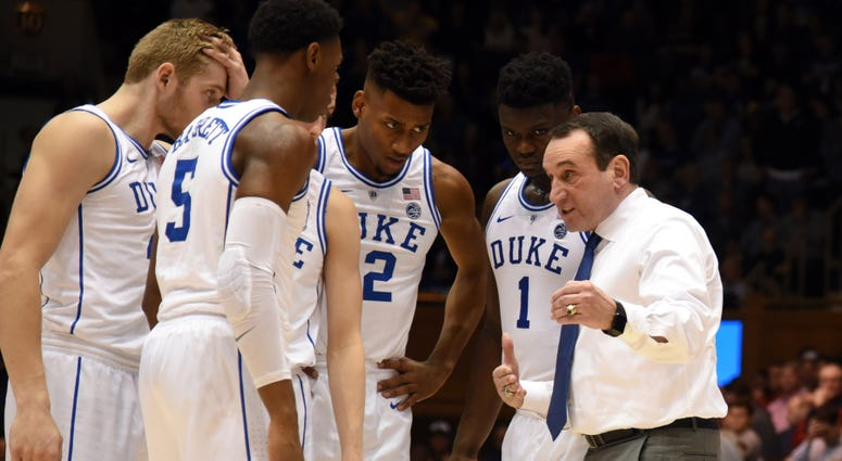 Feb 2, 2019; Durham, NC, USA; Duke Blue Devils head coach Mike Krzyzewski (right) directs his team during the second half against the St. John's Red Storm at Cameron Indoor Stadium. The Blue Devils won 91-61. Mandatory Credit: Rob Kinnan-USA TODAY Sports