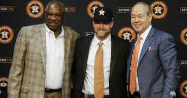 Houston Astros manager Dusty Baker, left, Astros General Manager James Click and Astros owner Jim Crane introducing Click as the new general manager during a press conference at Minute Maid Park on February 04, 2020 in Houston, Texas.