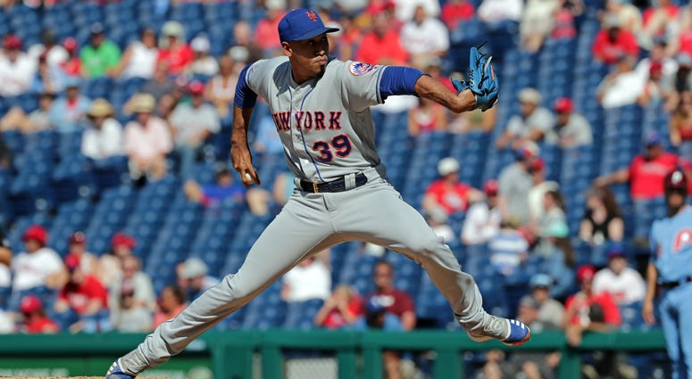 Edwin Diaz delivers a pitch in the ninth inning against the Phillies on June 27, 2019, at Citizens Bank Park in Philadelphia.