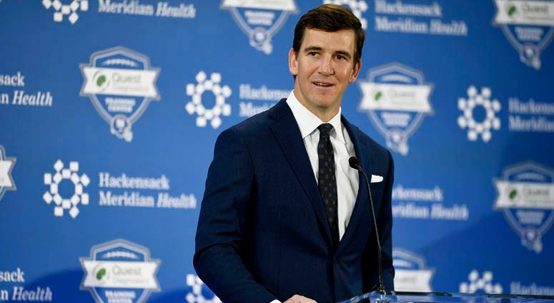 Eli Manning of the New York Giants announces his retirement during a news conference on Jan. 24, 2020, at the Quest Diagnostics Training Center in East Rutherford, New Jersey.