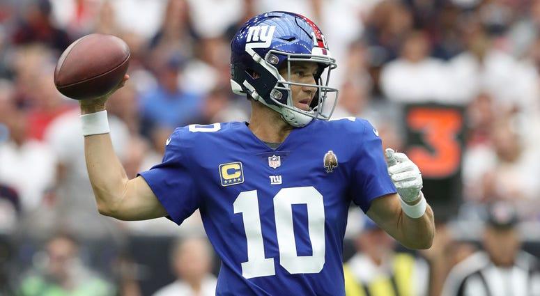 Giants quarterback Eli Manning passes against the Texans on Sept. 23, 2018, at NRG Stadium in Houston.