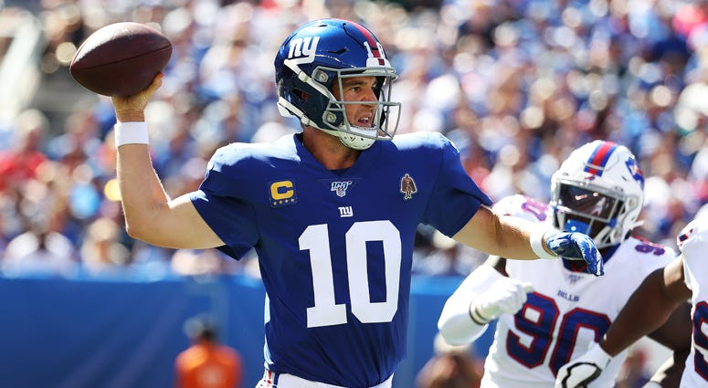 Eli Manning of the New York Giants in action against the Buffalo Bills on Sept. 15, 2019, at MetLife Stadium.