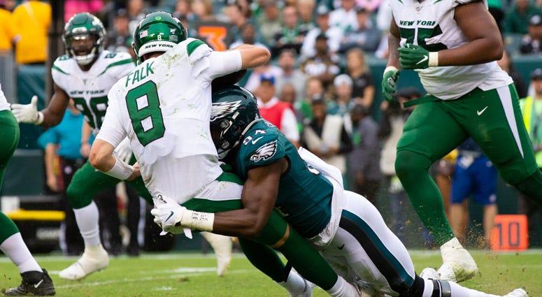 Eagles defensive end Josh Sweat sacks Jets quarterback Luke Falk on Oct. 6, 2019, in Philadelphia.