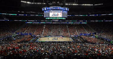 A general view of US Bank Stadium in Minneapolis during the championship game of the 2019 NCAA tournament between the Virginia Cavaliers and Texas Tech Red Raiders on April 8, 2019