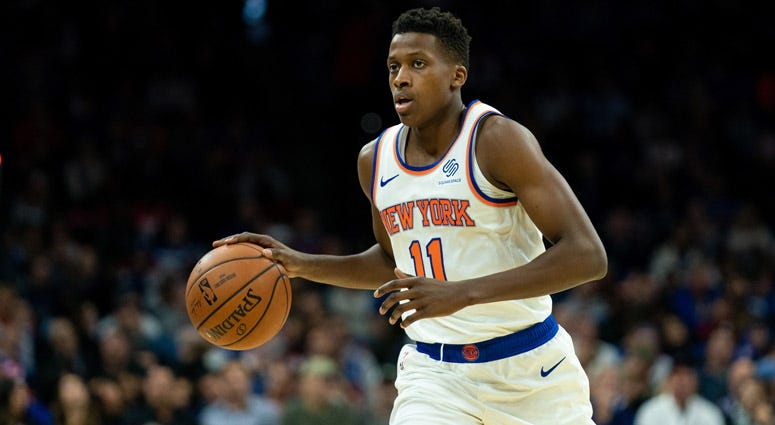 Knicks guard Frank Ntilikina dribbles against the 76ers on Nov. 20, 2019, at Wells Fargo Center in Philadelphia.