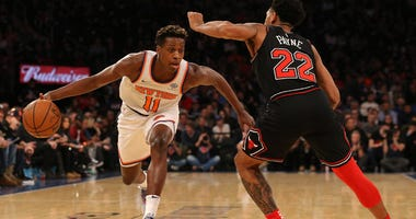 Knicks point guard Frank Ntilikina controls the ball against Chicago Bulls point guard Cameron Payne on Nov. 5, 2018, at Madison Square Garden.