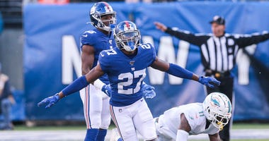 Giants cornerback DeAndre Baker reacts after breaking up a pass intended for Miami Dolphins wide receiver DeVante Parker on Dec. 15, 2019, at MetLife Stadium.
