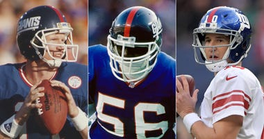 From left, Phil Simms, Lawrence Taylor and Eli Manning