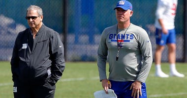 May 21, 2018; East Rutherford, NJ, USA; New York Giants general Manager Dave Gettleman and New York Giants head coach Pat Shurmur during OTA practice at Quest Diagnostic Training Center. Mandatory Credit: Noah K. Murray-USA TODAY Sports