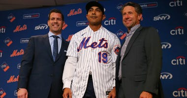 Luis Rojas with General Manager Brodie Van Wagenen and COO Jeff Wilpon after being introduced as the Mets manager New York, NY - January 24