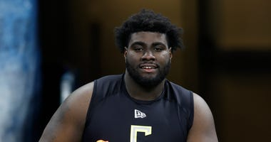 Tackle prospect Mekhi Becton during February's NFL Combine