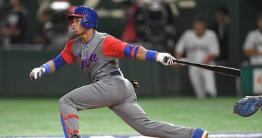 Yoelkis Cespedes of Cuba hits a double in the third inning of the 2017 World Baseball Classic Pool B Game Tokyo, Japan – March 7, 2017