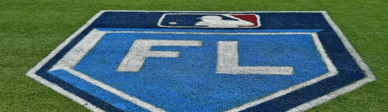 A general view of the spring training logo painted on the the field for the spring training games in the grapefruit league at First Data Field prior to the spring training game between the New York Mets and the Atlanta Braves