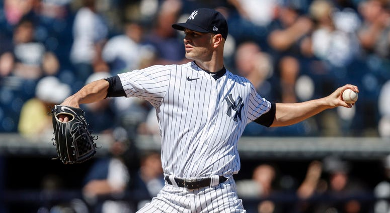 The Yankees' J.A. Happ throws a pitch against the Toronto Blue Jays on Feb. 22, 2020, at George M. Steinbrenner Field in Tampa, Florida.