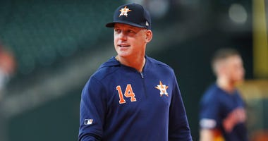 Astros manager AJ Hinch looks on prior to the game against the Oakland Athletics on April 6, 2019, at Minute Maid Park in Houston.