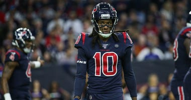Houston Texans wide receiver DeAndre Hopkins (10) during the game against the New England Patriots at NRG Stadium