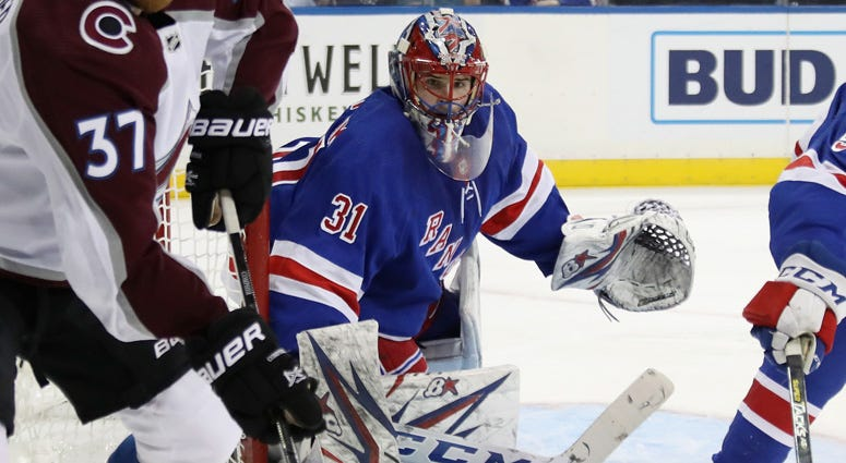 Igor Shesterkin of the New York Rangers plays in his first NHL game against the Colorado Avalanche on Jan. 7, 2019, at Madison Square Garden.
