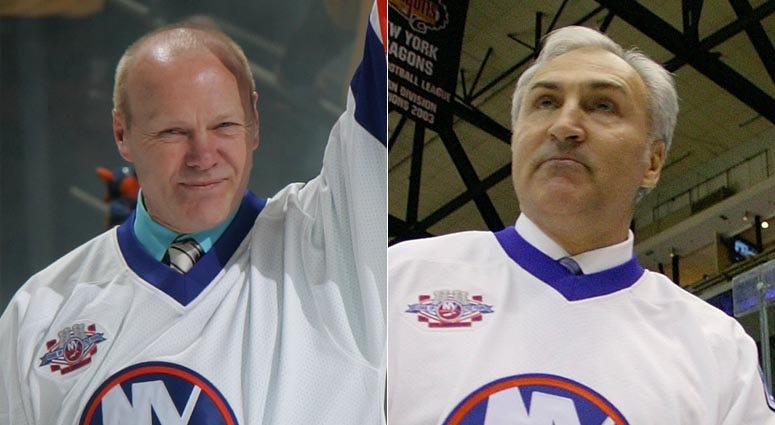 From left, Islanders greats Butch Goring and John Tonelli